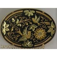 Damascene Gold Bird Oval Brooch by Midas of Toledo Spain style 825015