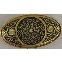 Damascene Gold Geometric Oval Brooch by Midas of Toledo Spain style 825016