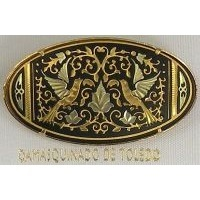 Damascene Gold Bird Oval Brooch by Midas of Toledo Spain style 825016