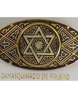 Damascene Gold Star of David Oval Brooch by Midas of Toledo Spain style 825016