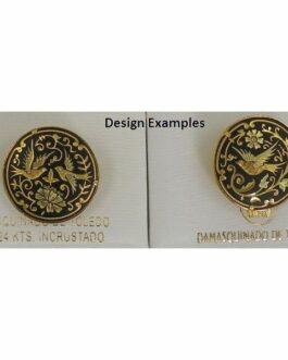 Damascene Gold Bird Round Brooch by Midas of Toledo Spain style 825017