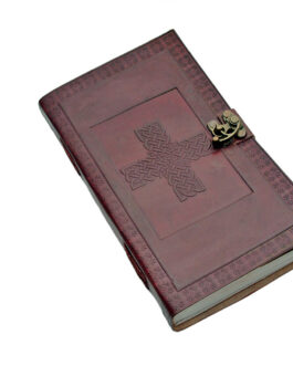 5″x9″ CELTIC CROSS LEATHER JOURNAL WITH LOCK