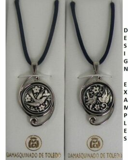 Damascene Silver Bird Round Pendant on Cord Necklace by Midas of Toledo Spain style 9222
