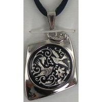 Damascene Silver Bird Kite Pendant on Cord Necklace by Midas of Toledo Spain style 9223