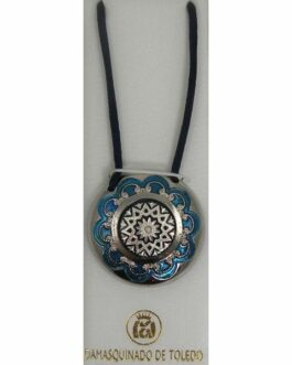 Damascene Silver and Enamel Blue Star Round Pendant on Cord Necklace by Midas of Toledo Spain style 9245
