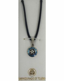 Damascene Silver and Enamel Blue Flower Round Pendant on Cord Necklace by Midas of Toledo Spain style 9247