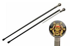 36″ CANE WITH SKULL SHIP WHEEL SWORD