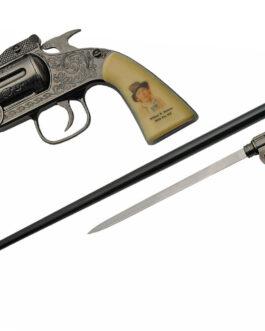 37″ BILLY THE KID REVOLVER SWORD CANE
