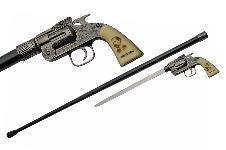 37″ WYATT EARP REVOLVER SWORD CANE