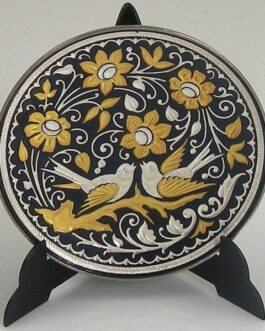 Damascene Gold and Silver Bird Round Decorative Plate by Midas of Toledo Spain style 92937-4