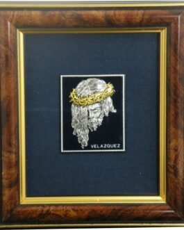 Damascene Silver Jesus Christ Framed Picture by Midas of Toledo Spain style 94619-1