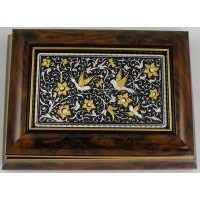 Damascene Gold and Silver Bird Wood Finish Jewelry Box by Midas of Toledo Spain Style 97002