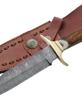 11″ BRASS GUARD DAMASCUS BOWIE