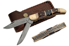 2 BLADE FILEWORK 5″ DAMASCUS FOLDER