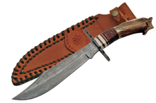 DAMASCUS STEEL 13 1/2″ STAG HANDLE CROWN BOWIE KNIFE