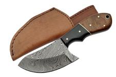 WALNUT 6.5″ DAMASCUS CAT SKINNER KNIFE