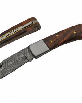 4.25″ DAMASCUS LOCK BACK WOOD HANDLE FOLDING KNIFE