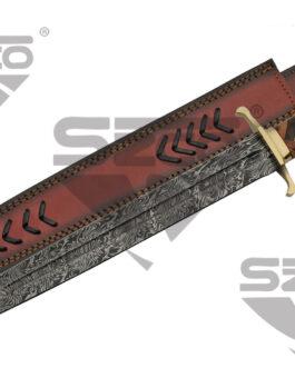 21″ BRAIDED WALNUT/OLIVEWOOD DAMASCUS SWORD