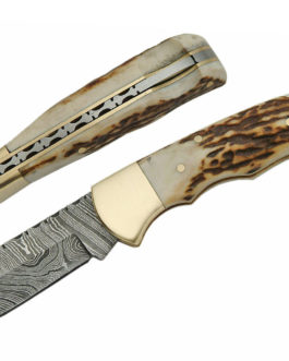 3.75″ DAMASCUS STAG LOCKBACK FOLDER, SINGLE BRASS BOLSTER