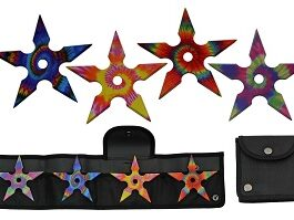 4″ 4 PIECE TIE DYE THROWING STARS SET